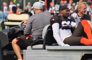 Browns cornerback EJ Gaines is carted off the field on Aug. 19, 2018 after suffering what appeared to be a serious right knee injury
