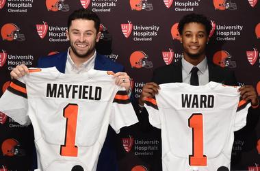 Cleveland Browns first round picks, Baker Mayfield (left) and Denzel Ward