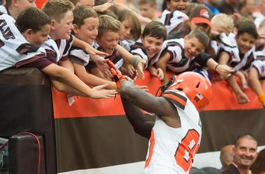 Cleveland Browns wide receiver Jarvis Landry (80) greets fans at FirstEnergy Stadium.