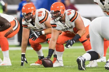 Cleveland Browns offensive guard Spencer Drango (66) and center JC Tretter (64) during the first quarter at FirstEnergy Stadium