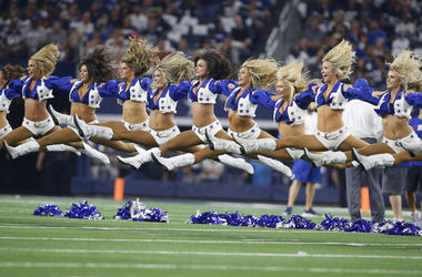 allas Cowboys cheerleaders perform before the game against the New York Giants at AT&T Stadium.