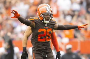 Cleveland Browns defensive back E.J. Gaines (28) celebrates after breaking up a pass for the Baltimore Ravens during the first quarter at FirstEnergy Stadium.