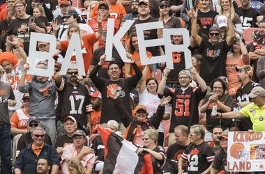 Fans hold a sign for Cleveland Browns quarterback Baker Mayfield (6) during the game between the Cleveland Browns and the Baltimore Ravens at FirstEnergy Stadium.