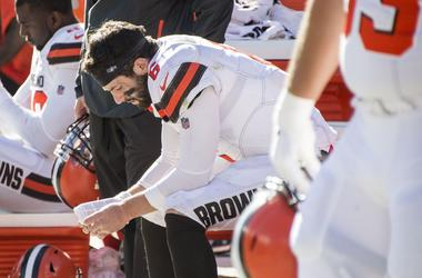 leveland Browns quarterback Baker Mayfield (6) sits on the bench late in the fourth quarter against the Los Angeles Chargers at FirstEnergy Stadium.