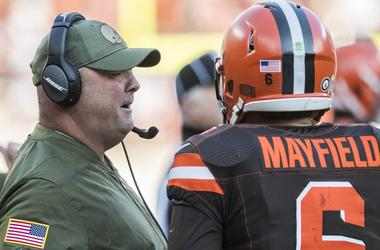 Cleveland Browns offensive coordinator Freddie Kitchens talks with quarterback Baker Mayfield (6) during the second half against the Atlanta Falcons at FirstEnergy Stadium.