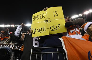 Cleveland Browns fans hold a sign in reference to quarterback Baker Mayfield (6) (not pictured) following the win over the Denver Broncos at Broncos Stadium at Mile High.