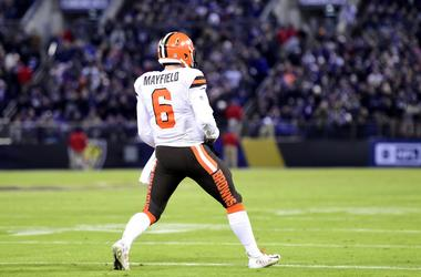 Cleveland Browns quarterback Baker Mayfield (6) celebrates after breaking the rookie passing touchdown record during the fourth quarter against the Baltimore Ravens at M&T Bank Stadium.