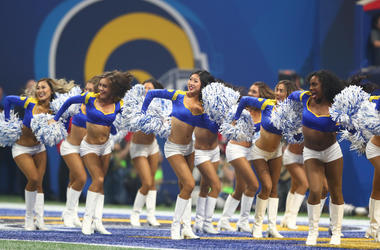 Los Angeles Rams cheerleaders perform against the New England Patriots in the third quarter in Super Bowl LIII at Mercedes-Benz Stadium.