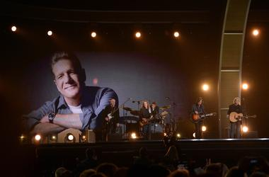 A tribute to Glenn Frey is performed during the 58th Grammy Awards