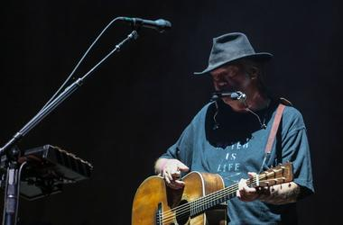 Neil Young performs