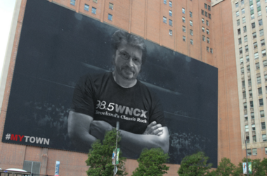 michael stanley billboard, michael stanley on building, michael stanley lebron james