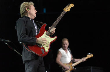 Andy Summers (left) and Sting perform during The Police's concert