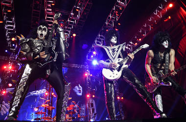 Gene Simmons (L), Tommy Thayer (C), and Paul Stanley