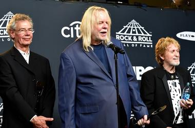 L-R: 2017 inductees Bill Bruford, Rick Wakeman and Jon Anderson of Yes