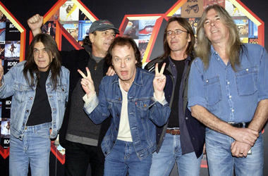 (left to right) Malcolm Young, Brian Johnson, Angus Young, Phil Rudd and Cliff Williams from AC/DC