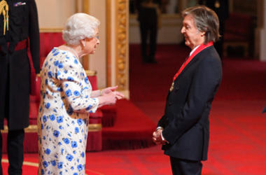 Sir Paul McCartney from London is made a Companion of Honour by Queen Elizabeth II