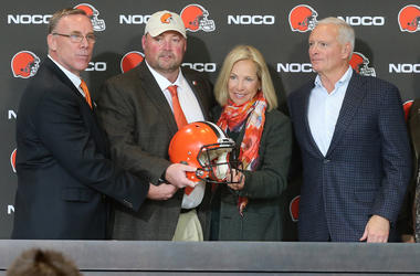 Freddie Kitchens, and owners Dee and Jimmy Haslam pose for a photo after a press conference on Monday, Jan. 14, 2019 at FirstEnergy Stadium in Cleveland, Ohio. (Photo by Phil Masturzo/Akron Beacon Journal/TNS/Sipa USA)