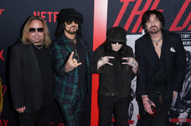 Vince Neil, Nikki Sixx, Mick Mars and Tommy Lee of Motley Crue at Los Angeles Premiere Of Netflix's 'The Dirt' held at The ArcLight Hollywood - Cinerama Dome on March 18, 2019 in Hollywood, CA, USA