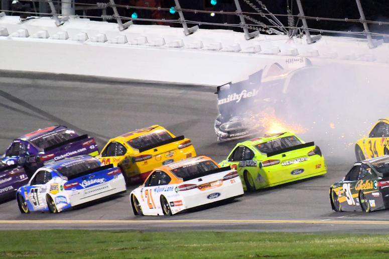 NASCAR Cup Series driver Aric Almirola (10) wrecks on the last lap during the Daytona 500 at Daytona International Speedway.