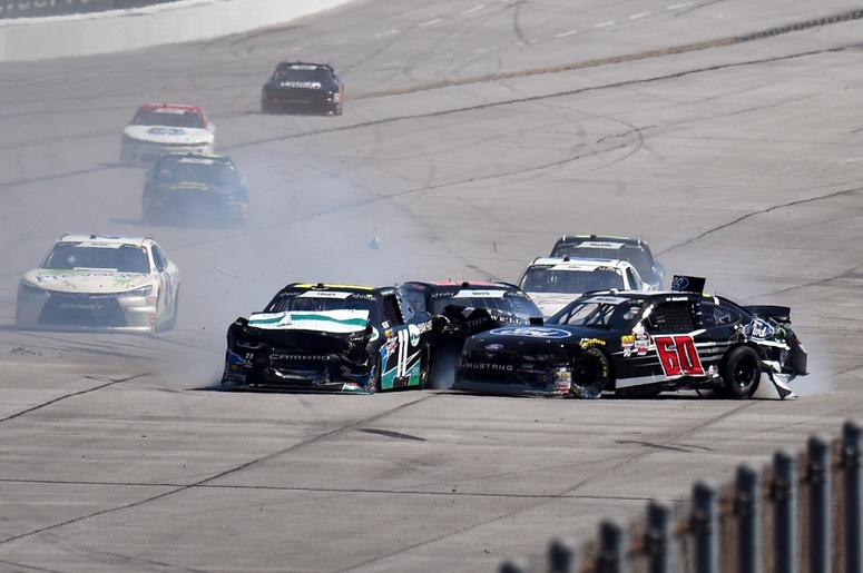 NASCAR Xfinity Series drivers Ryan Truex (11) and Ty Majeski (60) wreck in front of the field during the Sparks Energy 300 at Talladega Superspeedway.