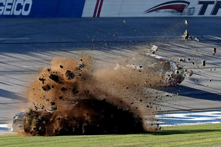 NASCAR Cup Series driver Jamie Mcmurray (1) wrecks during the 1000Bulbs.com at Talladega Superspeedway.