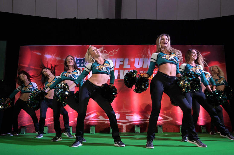 acksonville Jaguars roar cheerleaders perform at NFL UK Live at The Drum at Wembley.