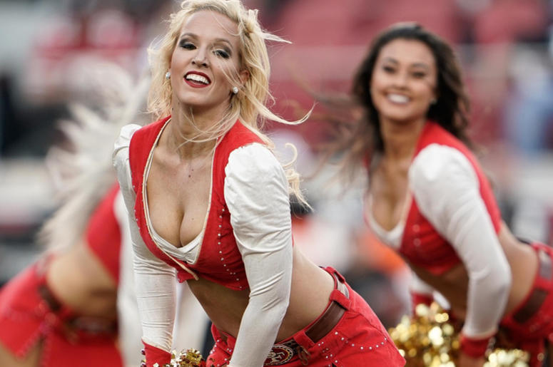 San Francisco 49ers cheerleaders perform for the crowd before the game against the Oakland Raiders at Levi's Stadium.