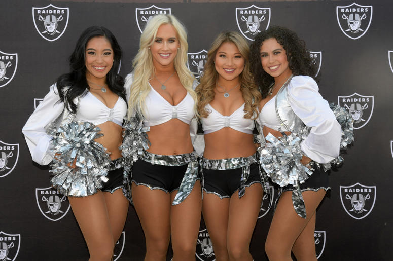 dc5a8e2d5 Oakland Raiders raiderette cheerleaders pose during the game against the  Los Angeles Chargers at Oakland Coliseum
