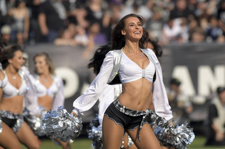 Oakland Raiders raiderette cheerleaders dance during the game against the Los Angeles Chargers at Oakland Coliseum.
