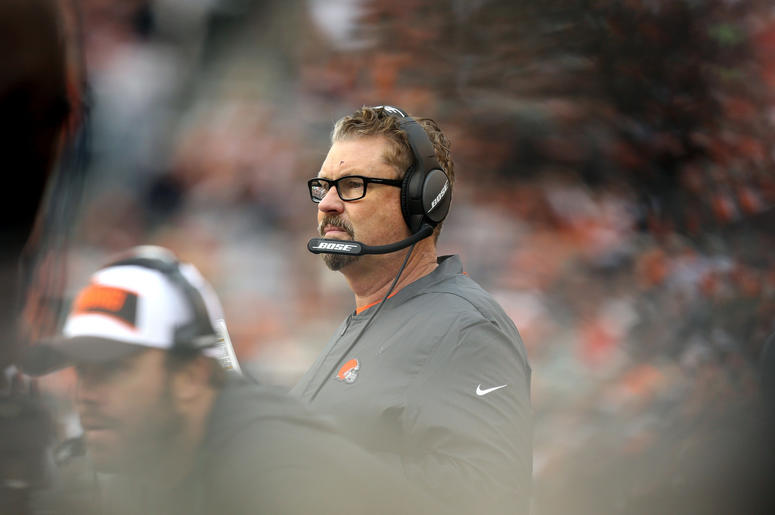 leveland Browns interim head coach Gregg Williams stands on the sidelines against the Cincinnati Bengals in the second half at Paul Brown Stadium.
