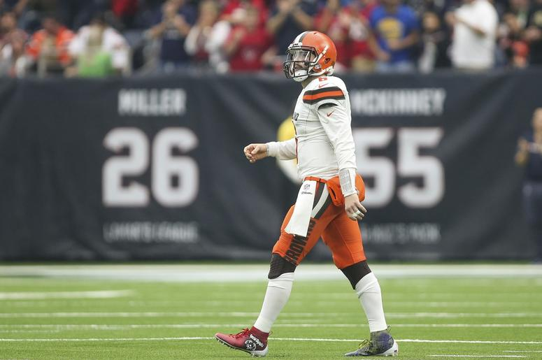 Cleveland Browns quarterback Baker Mayfield (6) walks off the field after throwing an interception during the second quarter against the Houston Texans at NRG Stadium.