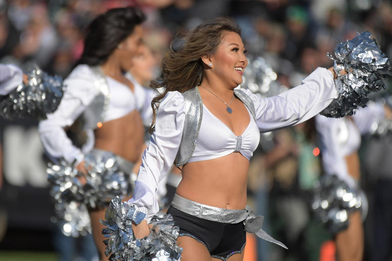Oakland Raiders raiderette cheerleaders dance during the game against the Kansas City Chiefs at Oakland-Alameda County Coliseum.