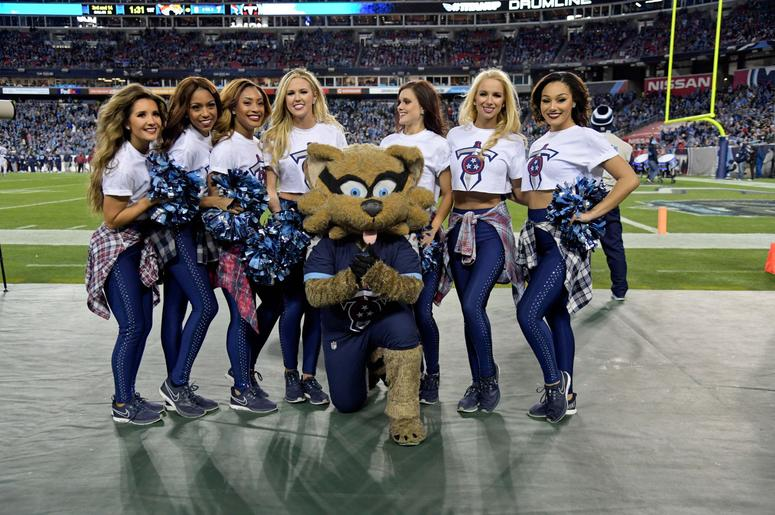 Dec 6, 2018; Nashville, TN, USA; Tennessee Titan Cheerleaders pose for a group photo during the first half against the Jacksonville Jaguars at Nissan Stadium. Mandatory Credit: Jim Brown-USA TODAY Sports