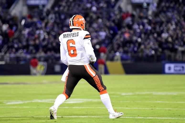 4a0d9a0cac2f Cleveland Browns quarterback Baker Mayfield (6) celebrates after breaking  the rookie passing touchdown record