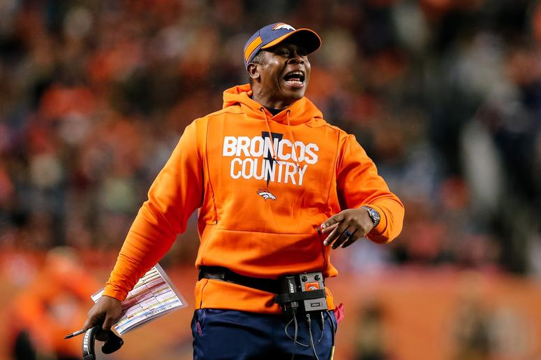 Denver Broncos head coach Vance Joseph reacts in the fourth quarter against the Los Angeles Chargers at Broncos Stadium at Mile High.