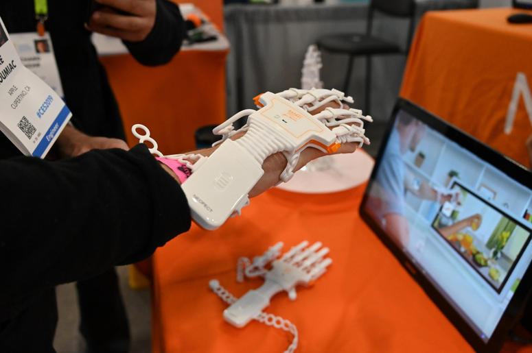 January 8, 2019; Las Vegas, NV, USA; The RAPAEL Smart Glove is an interactive home rehabilitation therapy for stroke survivors to regain hand function during the Consumer Electronics Show 2019 at the Sands Expo Convention Center.