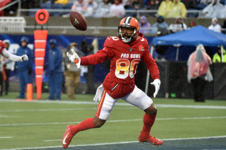 Jan 27, 2019; Orlando, FL, USA; AFC wide receiver Jarvis Landry of the Cleveland Browns (80) is unable to make a catch in the end zone against NFC in the NFL Pro Bowl football game at Camping World Stadium. Mandatory Credit: Steve Mitchell-USA TODAY Sport