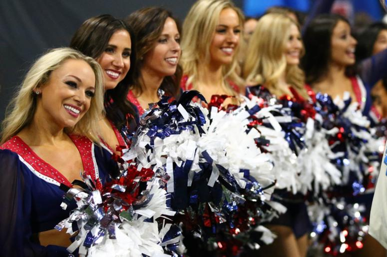 New England Patriots cheerleaders perform against the Los Angeles Rams in the third quarter in Super Bowl LIII at Mercedes-Benz Stadium.