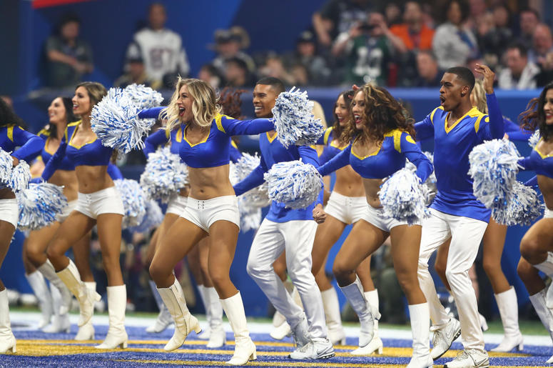 os Angeles Rams cheerleaders perform against the New England Patriots in the third quarter in Super Bowl LIII at Mercedes-Benz Stadium.