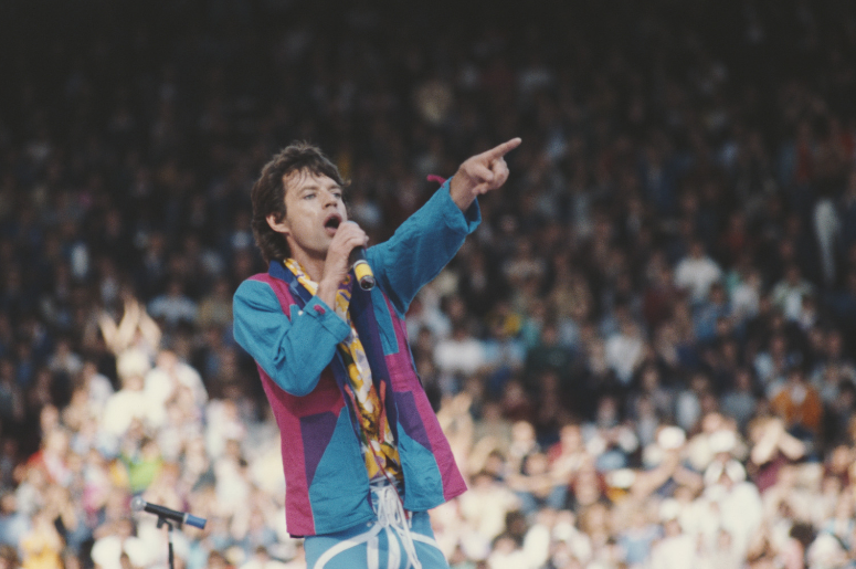 Singer Mick Jagger performs with rock band The Rolling Stones 1982.