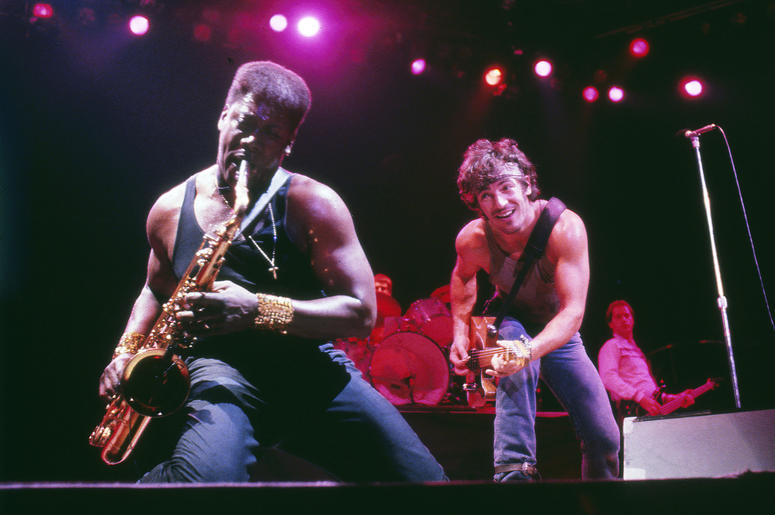 Bruce Springsteen, right, watched Clarence Clemons play the saxophone during a December 12, 1984 concert before 23,000 fans in Rupp Arena in Lexington, Kentucky. Clemons died last Saturday of a stroke. He was 69.