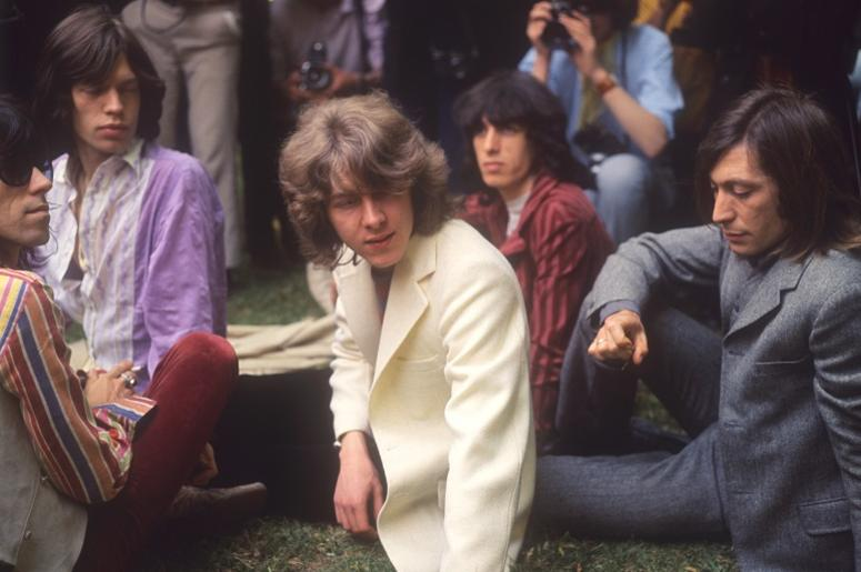 New member Mick Taylor (c) joins the Rolling Stones to replace lead guitarist Brian Jones, pictured in Hyde Park, London. (l-r) Keith Richards, Mick Jagger, Mick Taylor, Bill Wyman and Charlie Watts.