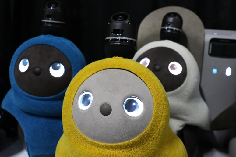 Lovot, cute companion robots that want to give people affection, are displayed at Unveiled Las Vegas, the 2019 Consumer Electronics Show (CES) media event, at Mandalay Bay Convention Center on Sunday Jan. 6, 2019, in Las Vegas, Nevada.