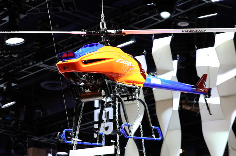 The Fazer, Yamaha remote-controlled helicopter, is displayed at the 2019 Consumer Electronics Show (CES) at the Las Vegas Convention Center on Tuesday, Jan. 8, 2019, in Las Vegas, Nevada.