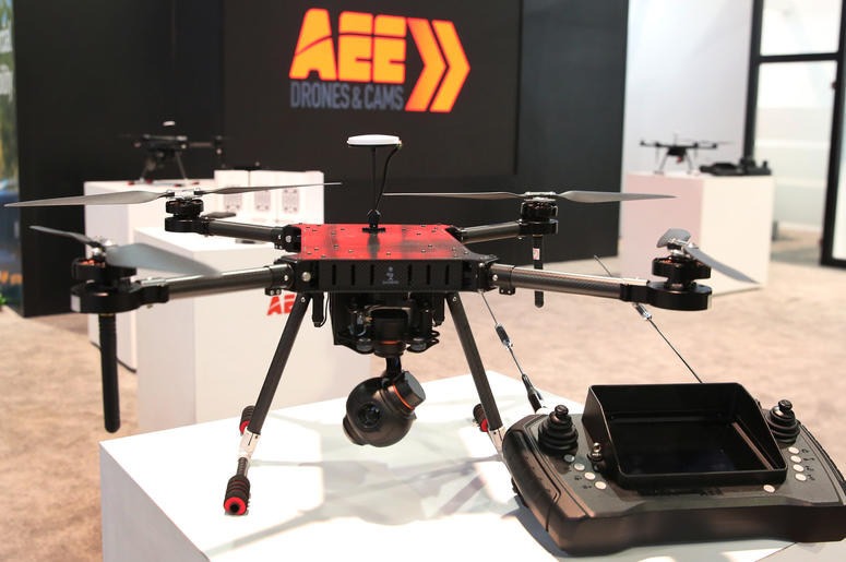 AEE MACH4 Multi-Rotor commercial unmanned aerial vehicle is displayed at the 2019 Consumer Electronics Show (CES) at the Las Vegas Convention Center on Tuesday, Jan. 8, 2019, in Las Vegas, Nevada.