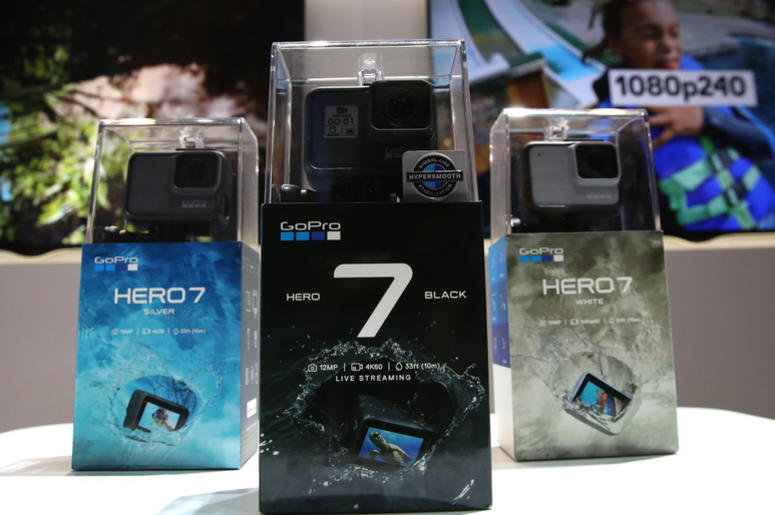 GoPro Hero7 cameras are attached on a motorcycle during the 2019 Consumer Electronics Show (CES) at the Las Vegas Convention Center on Tuesday, Jan. 8, 2019, in Las Vegas, Nevada.