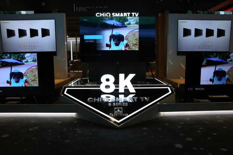 8K CHiQ smart TV 6-series are displayed during the 2019 Consumer Electronics Show (CES) at the Las Vegas Convention Center on Tuesday, Jan. 8, 2019, in Las Vegas, Nevada.