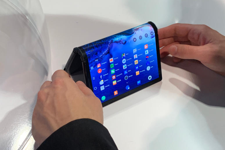 The Royole Corporation FlexPai, the world's first foldable screen smartphone, which made its debut at the Consumer Electronics Show (CES) in Las Vegas.