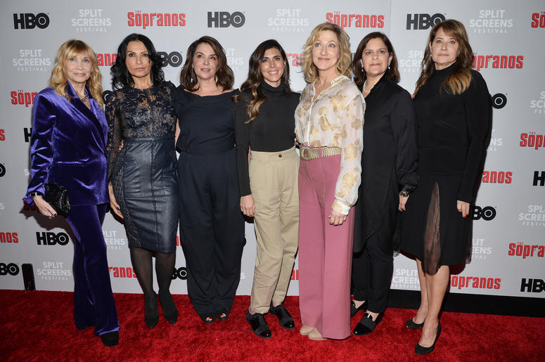 (L-R) Maureen Van Zandt, Kathrine Narducci, Annabella Sciorra, Jamie-Lynn Sigler, Edie Falco, Executive Producer Ilene S. Landress and Lorraine Bracco attend The Sopranos 20th Anniversary Red carpet and Panel Discussion during the Sopranos Film Festival a