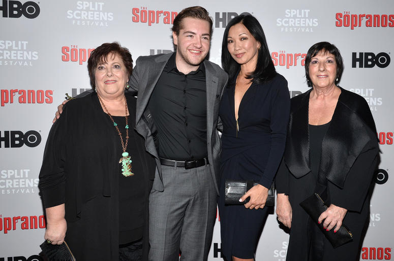 Johanna Antonacci, Michael Gandolfini, Deborah Lin and Leta Gandolfini attend The Sopranos 20th Anniversary Red carpet and Panel Discussion during the Sopranos Film Festival at SVA Theatre in New York, NY, January 9, 2019.